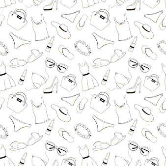 여성 의류, 신발, 속옷, 액세서리는 매끄러운 패턴입니다. 상품권, 할인, 블랙 프라이데이 판매를 위한 디자인 요소