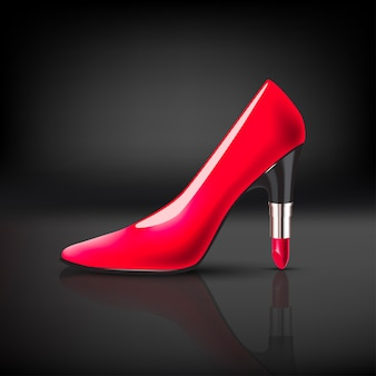 Womens color shoe with lipstick heel on dark background