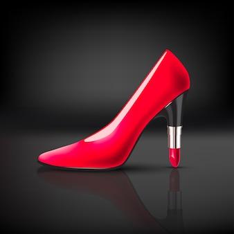 어두운 배경에 립스틱 발 뒤꿈치와 여자 색상 신발 프리미엄 벡터