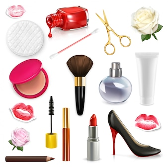 Womens cosmetics and accessories, rose bud, high-heel shoes, illustration set isolated on the white background