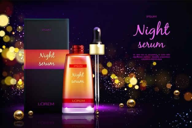 Womens cosmetics product 3d realistic vector ad banner.