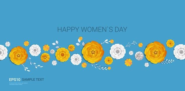 Womens day 8 march holiday celebration banner flyer or greeting card with decorative paper flowers 3d rendering horizontal illustration