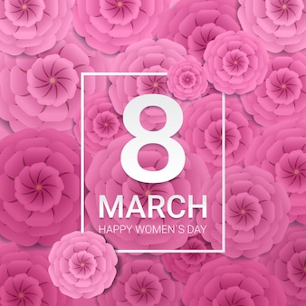 Womens day 8 march holiday celebration banner flyer or greeting card with decorative paper flowers 3d rendering illustration