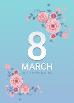 Womens day 8 march holiday celebration banner flyer or greeting card with decorative paper flowers 3d rendering vertical illustration