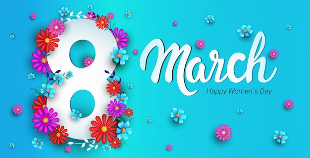 Womens day 8 march holiday celebration banner flyer or greeting card with flowers on number eight horizontal illustration