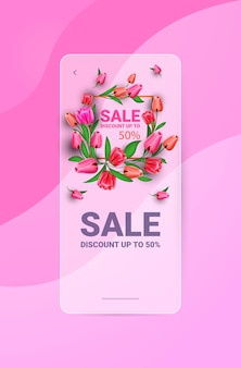 Womens day 8 march holiday celebration banner flyer or greeting card with flowers vertical illustration