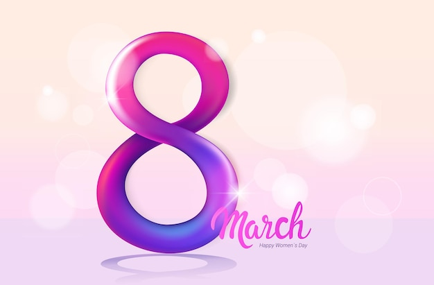 Womens day 8 march holiday celebration banner flyer or greeting card with number eight horizontal illustration
