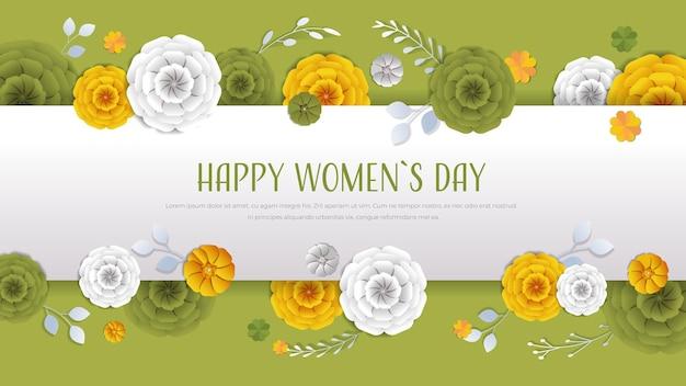 Женский день 8 марта праздник празднование баннер флаер или поздравительная открытка с декоративными бумажными цветами 3d рендеринг горизонтальная иллюстрация