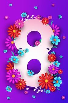 Женский день 8 марта праздник празднование баннер флаер или поздравительная открытка с цветами на восьмой вертикальной иллюстрации