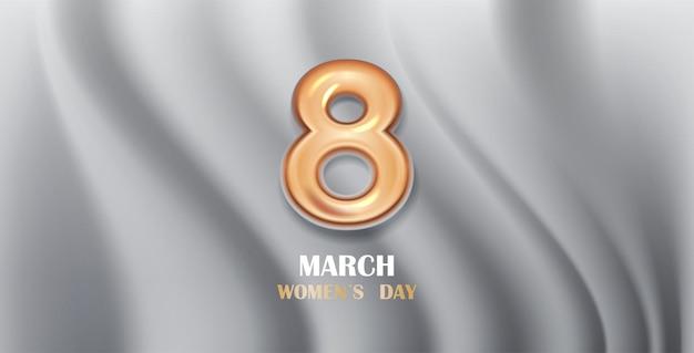 여성의 날 3 월 8 일 휴일 축하 배너 전단지 또는 황금 번호 8 가로 그림 인사말 카드