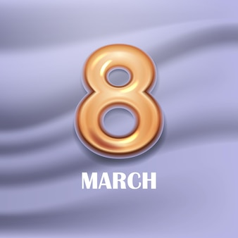 여성의 날 3 월 8 일 휴일 축하 배너 전단지 또는 황금 번호 8 일러스트와 함께 인사말 카드