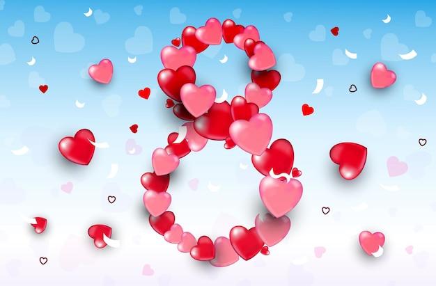 Женский день 8 марта праздник празднование баннер флаер или поздравительная открытка с сердечками горизонтальная иллюстрация