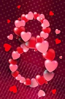 Женский день 8 марта праздник празднование баннер флаер или поздравительная открытка с сердечками в форме восьмерки вертикальная иллюстрация