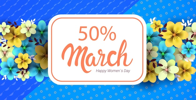 Womens day 8 march holiday celebration concept greeting card poster or flyer with flowers horizontal illustration