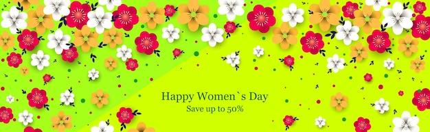 Женский день 8 марта праздник празднование концепция продажи баннер поздравительная открытка плакат или флаер с цветами горизонтальная иллюстрация
