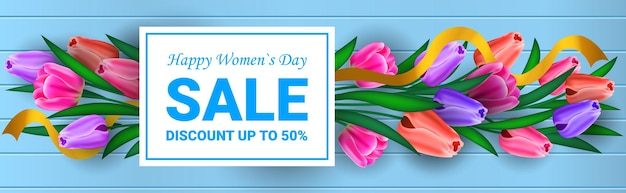 Womens day 8 march holiday celebration sale banner flyer or greeting card with flowers horizontal illustration