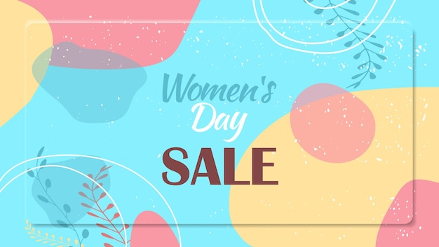 여성의 날 3 월 8 일 휴일 축하 활기찬 전단지 또는 인사말 카드 장식 잎과 손으로 그린 텍스처 가로 그림