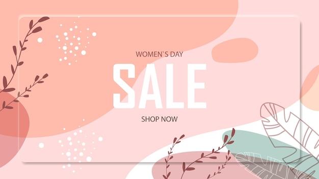 Женский день 8 марта праздник празднования яркий флаер или поздравительная открытка с декоративными листьями и рисованной текстурой горизонтальная иллюстрация