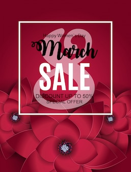 Womens day, 8 march sale banner spring design with flower.