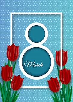 Womens day background, banners, womens day flyer, womens day design with red tulips on blue background