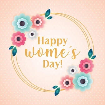 Womens day card with crown of flowers isolated .  illustration