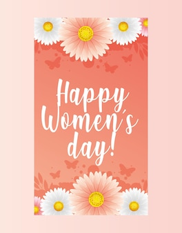 Womens day card with flowers and butterflies.  illustration