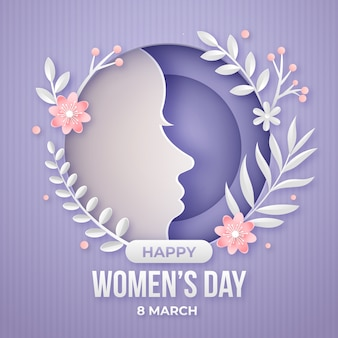 Womens day celebration in paper style