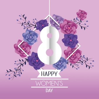 Womens day celebration with roses and leaves