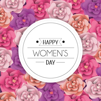 Womens day circle emblem with roses