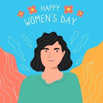 手描きの女性の日の概念