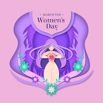 Womens day concept in paper style