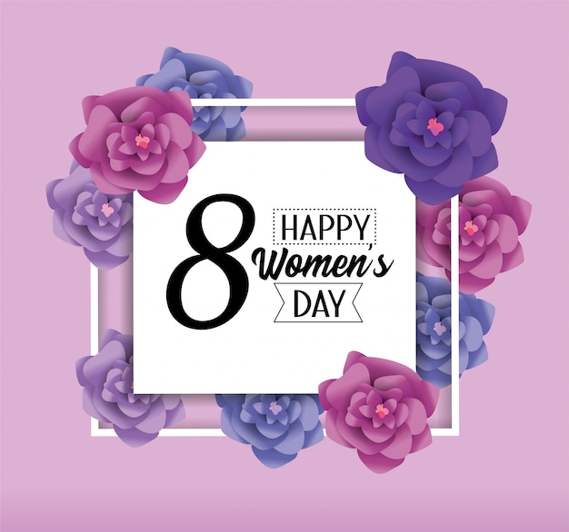 Womens day emblem with roses to celebration
