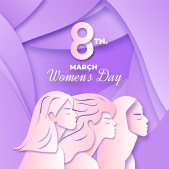 Womens day event in paper style concept