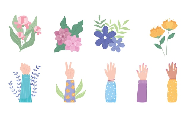 Womens day, female hands up with flowers nature decoration  illustration