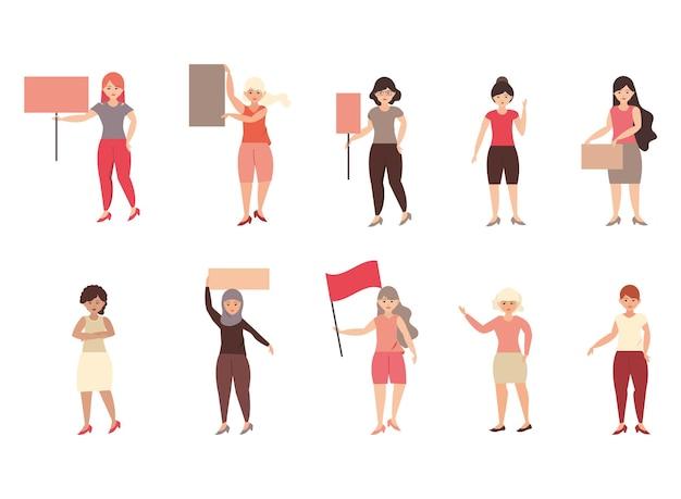 女性の日、プラカードやバナーを保持している女性、抗議のイラストのサイン