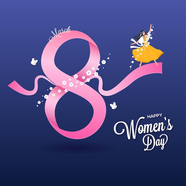 Womens day greeting card with number 8 made from pink ribbon with young girl character on blue