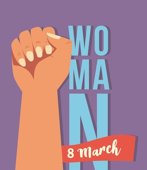 Womens day, hand up 8 march celebration  illustration