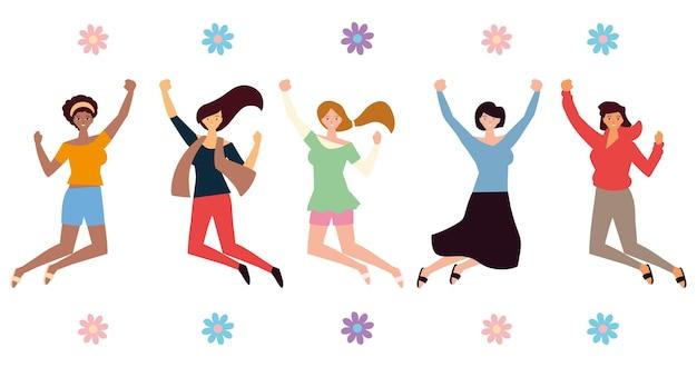 여성의 날, 그림을 축하하는 행복한 그룹 여성 캐릭터