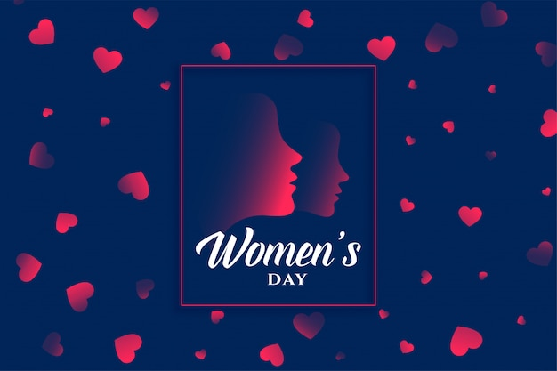 Womens day heart and face background