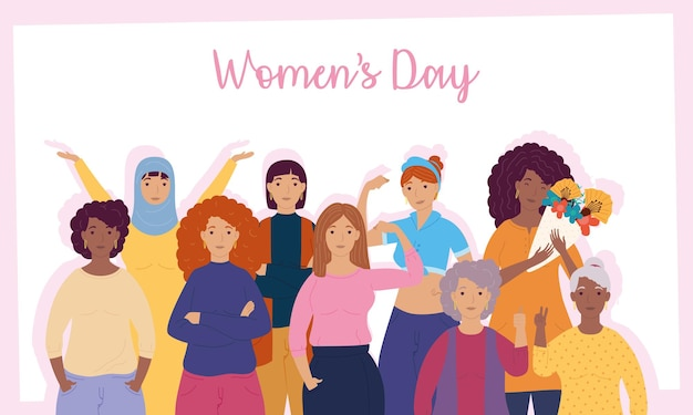 Womens day lettering with group of interracial girls  illustration