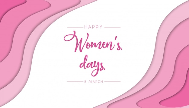Womens day papercut abstract background with pink color