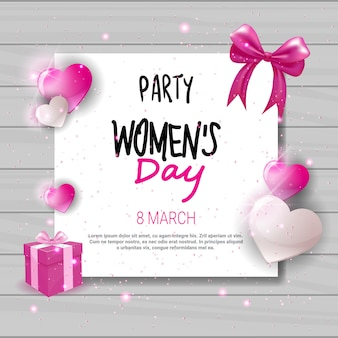 Womens day party invitation holiday celebration greeting card design with heart shapes and copy space