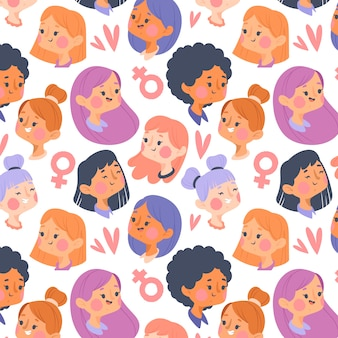 Womens day pattern with faces concept