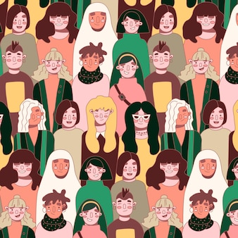 Womens day pattern with women faces