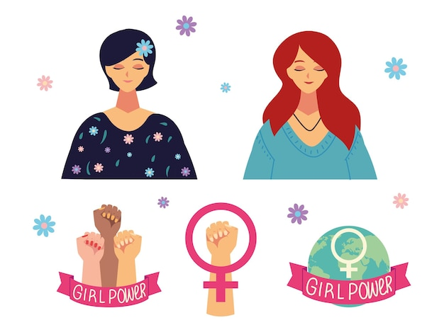 Womens day, portrait character female cartoon gender and hands raised girl power  illustration