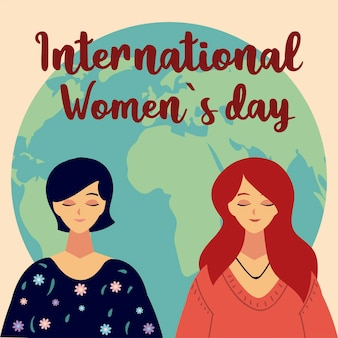 Womens day, portrait female characters and world in cartoon style  illustration