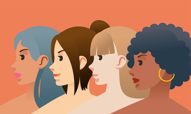 異なる肌と髪の色を持つ若い女性の女性の日のポスターイラスト