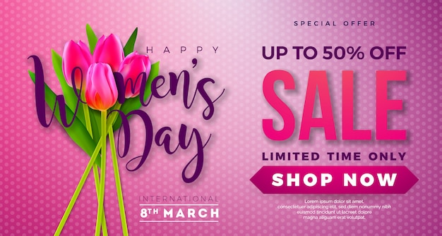 Womens day sale design with tulip flower on pink background.