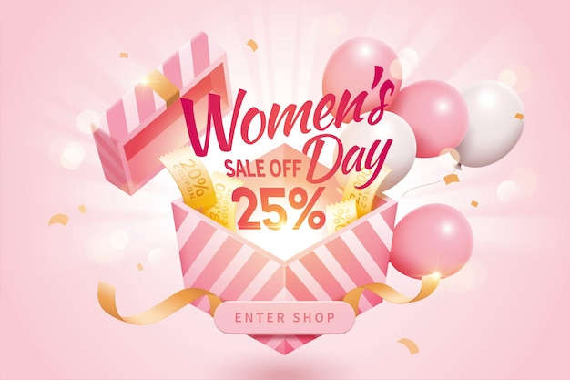 Womens day sale pop up ads decorated by cute balloons and additional coupons