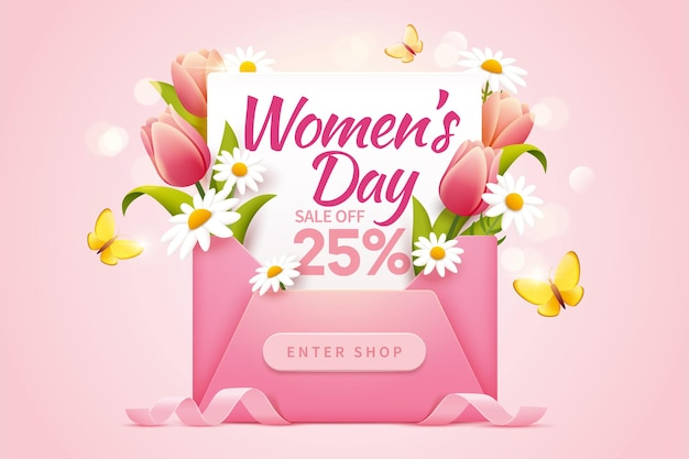 Womens day sale pop up ads for with 25 percent discount decorated by flowers